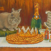 Canel et la galette des rois - Pastel sec sur pastelmat