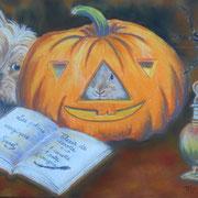 Canel et Automne fêtent Halloween - Pastel sec sur pastelmat