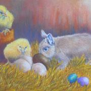 Canel fête les Pâques - Pastel sec sur pastelmat
