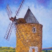 eurxe vieux moulin - Pastel à l'huile sur pastelpad - 135 euros