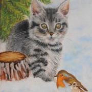 Timy le chaton s'amuse - Pastel sec sur pastelmat