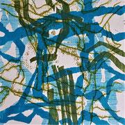 Ohne Titel (grün-türkis), 2014, Holzschnitt & Monotypie, 15 x 15 cm