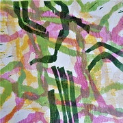 Ohne Titel (grün-rosa), 2014, Holzschnitt, 15 x 15 cm