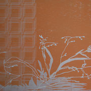 Ohne Titel (Gräser 6), 2014, Holzschnitt & Aquarellstift, 35,2 x 49,8 cm