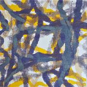Ohne Titel (gelb-lila), 2015, Holzschnitt, 15 x 15 cm
