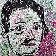 Karin, Linien, 2014, Holzschnitt & Fineliner, 30,1 x 25,1 cm