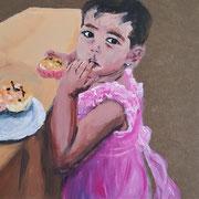 Jeder Mensch ist ein Kunstwerk - Usbekisches Mädchen, 2021, Acryl auf Abdeckpapier, 21,5 x 30 cm