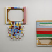 JumpCut06 (space invader), 2014 approx.80x50x5cm wood, canvas, glue, staples, acrylics and JumpCut07 (cutie), 2014 60x40x3cm wood,canvas,staples,acrylics