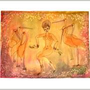 Tanz der Störche, gelb, 44 x 60