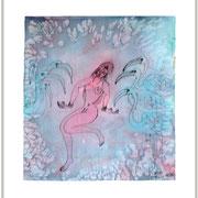 Tanz der Störche, blau, 57 x 44
