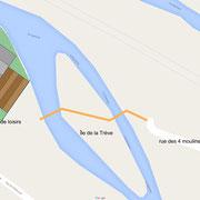 Projet de passerelle qui relierait la rue des quatre moulins à la base nautique.
