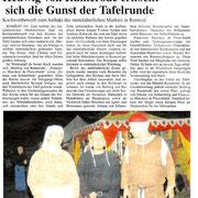 Oberhessische Zeitung vom 06.09.2010. Das Speiseduell in der Tafelrunde zu Romrod,