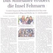 Regionalzeitung Oldenburg. Mittelalter Katharinenhof auf der Insel Fehmarn Juli 2011