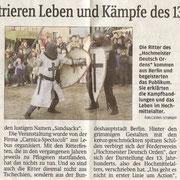 Bautzener Zeitung zum Spectaculum auf der Ortenburg Okt. 2008, Sachsen