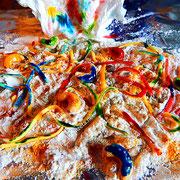 Spätzle mit Lebensmittelfarben