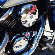 Chromteile eines Motorrads