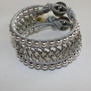 Manchette Chaine Argent cuir grey 60€