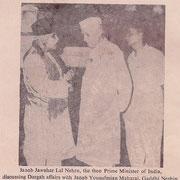Syed Yusuf Mia Maharaj with Pundit Jawaharlal Nehru
