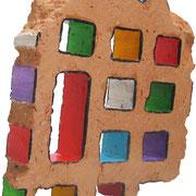 """""""pezzo di mattone dello Stelvio"""" acrilici con rifinitura vernice all'acqua su pezzo di mattone forato cm14x15"""