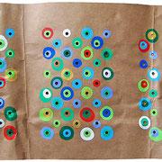 """""""tondi colorati"""" acrililci su cartone d'imballo cm88,5x40"""