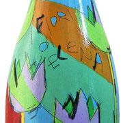 """""""bottiglia per un grazie 2"""" (b) acrilici e tratti a matita su bottiglia in vetro per spumante"""