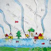 """""""case d'inverno"""" acrililci su tela con graffi di colore a matita cm24x24"""
