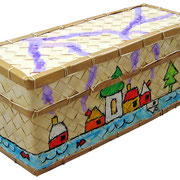 """""""scatoletta per il thè"""" acrilici rifiniti con vernice all'acqua cm15,5x6,5x5"""