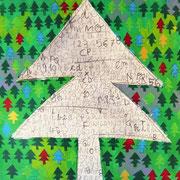 """""""l'Albero delle Parole"""" acrilici su cartone con segni a matita cm52x59,5"""