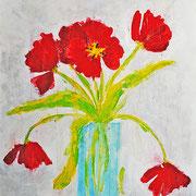 """""""tulipani in vaso (dopo una settimana)"""" acrilico su cartone graffiato con carta vetro grossa cm49x70"""