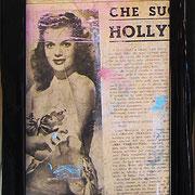"""""""ritagli di giornali sporchi di acrilici"""" cm16,5x21,5 (in vecchia cornicetta in legno) 3"""