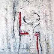 """""""sedia rossa (su)"""" matita e carboncino con acrilici su cartone d'imballocm49x69  """"La sedia rossa appariva più grande e bella delle sue tette, adagiate senza voluttuosità, in attesa che passasse quel terribile caldo."""""""