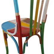 """""""toppe a colori su vecchia sedia in legno"""" acrilici, inserto carta giornale e stucco (a)"""