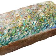 """""""i 50 Segni""""acrilicisu mattonella raccolta in riva al mare d'inverno (Jesolo)"""