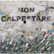 """""""non calpestare"""" (prato al tempo del Covid. Attesa) acrilici e segni a matita su tela con tracce di stucco cm28x35"""