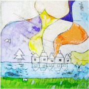 """""""case sotto la cupola"""" acrilici con tratto a matita su tela cm23,5x23,5"""
