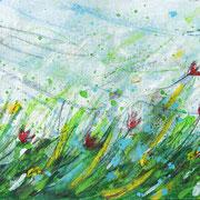 """""""il prato dei 10 fiori"""" acrilici e matita colorata su cartoncino (postcard) cm19,5x10"""
