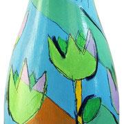 """""""bottiglia per un grazie 2"""" (a) acrilici e tratti a matita su bottiglia in vetro per spumante"""