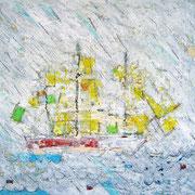 """""""la nave nel Nulla""""acrilici, e trattoa matita su carta (esercizio)cm27.5xx34,5 - Se non si ha una rotta per raggiungere una meta, il Nulla ci avvolge come nebbia. Non è nebbia, è un vorace assassino che uccide il domani."""