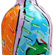 """""""bottiglia come oggetto transizionale"""" acrilici su vetro e segni a matita cm/h23,5"""