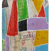 """""""grappa di cirmolo"""" (retro) acrilici su collage di carta giornale su vetro cm23,5x8,5x4,5"""