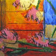 """""""i fiori di Paola"""" acrilico e carboncino con foglia oro cm70x50"""