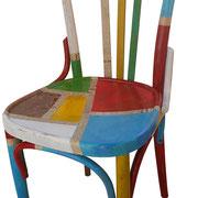 """""""toppe a colori su vecchia sedia in legno"""" acrilici, inserto carta giornale e stucco (b)"""
