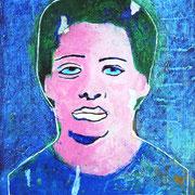 """""""labbra sbiancate: Carmela""""acrilico su fotocopia in b/n su tela graffiata con carta vetrocm25x35"""