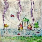 """""""case per Cimirlo""""acrilici e tratto a matita sutelaricoperta di stucco con inserti di carta giornale cm15x15"""