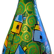 """""""il giardino di Lorenza""""acrilico e foglia oro su vetro"""