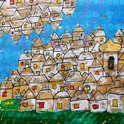 """""""il Villaggio"""" acrilico carta e foglia oro su legno con incisioni cm126 x97"""