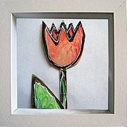 """""""fiori sotto vetro"""" (ritagli di cartone) acrilico cm16.5x16.5 (1)"""