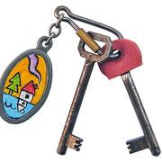 """""""le chiavi del Cimirlo""""  (acrilico sul ciondolo) in cornice bianca cm25x25"""