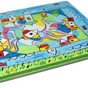 """""""scatola per colori a matita"""" acrilici e tratti a matita su scatola di latta cm21x19"""