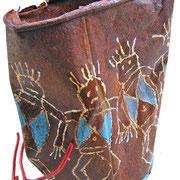 """""""Danza Tribale""""acrilici subarattolo arrugginito cm16x12,5 (ritrovato a Cima Uomo-P.sso San Pellegrino, Moena - TN)"""